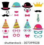 birthday party vector photo... | Shutterstock .eps vector #307399028