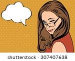 pop art cute retro woman in... | Shutterstock .eps vector #307407638