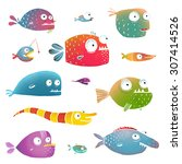 cartoon fish collection for... | Shutterstock .eps vector #307414526