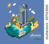 summer paradise island  part of ... | Shutterstock .eps vector #307415042