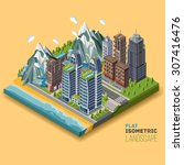 isometric city concept  part of ... | Shutterstock .eps vector #307416476