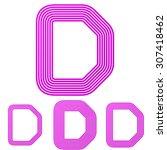 magenta line d letter logo...