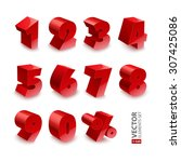 red shiny 3d thick numbers... | Shutterstock .eps vector #307425086