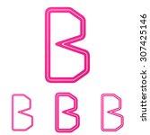 pink line b letter logo design...
