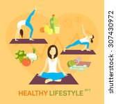 healthy life diet and weight... | Shutterstock .eps vector #307430972