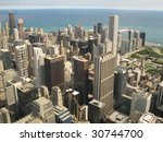 aerial view of chicago ... | Shutterstock . vector #30744700