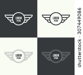 badge and shield with wings.... | Shutterstock .eps vector #307449086