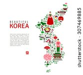 korea map silhouette with flat...   Shutterstock .eps vector #307469885