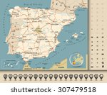 road map of spain with highways ... | Shutterstock .eps vector #307479518