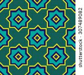 moroccan patterns on a green ... | Shutterstock .eps vector #307489082