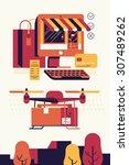 cool vector trendy flat design... | Shutterstock .eps vector #307489262