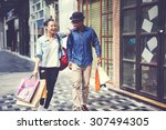 couple shopping outdoors store... | Shutterstock . vector #307494305