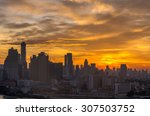 bangkok cityscape at sunrise... | Shutterstock . vector #307503752