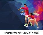 badminton mixed doubles team ... | Shutterstock .eps vector #307515506