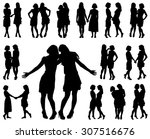 silhouette of two young slender ... | Shutterstock .eps vector #307516676