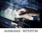 close up of human hands using... | Shutterstock . vector #307525736