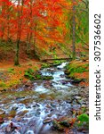 Rapid Mountain River In Autumn. ...