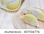 Durian On Plate And On Wooden...