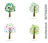 abstract tree design isolated...   Shutterstock .eps vector #307540205