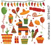 mexican party decorations with... | Shutterstock .eps vector #30754417