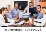smiling european colleagues... | Shutterstock . vector #307544726