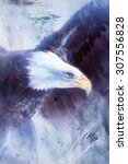 Painting Eagle On Abstract...
