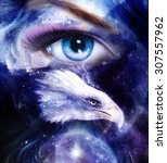 painting eagle with woman eye... | Shutterstock . vector #307557962