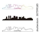 colombo skyline linear style...   Shutterstock .eps vector #307599185