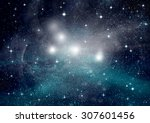 stars of a planet and galaxy in ... | Shutterstock . vector #307601456
