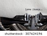 typewriter with white paper.... | Shutterstock . vector #307624196