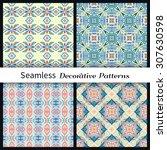 set of vector seamless patterns....   Shutterstock .eps vector #307630598
