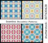 set of vector seamless patterns.... | Shutterstock .eps vector #307630628