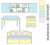 furniture for children's room.... | Shutterstock .eps vector #307654265
