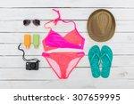 set of beach clothes. pink...   Shutterstock . vector #307659995