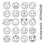 20 smiles vampires icons set... | Shutterstock .eps vector #307666268