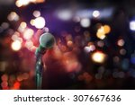 close up of microphone in... | Shutterstock . vector #307667636