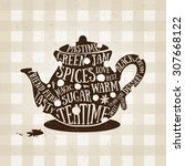 typography poster with kettle... | Shutterstock .eps vector #307668122