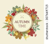 autumn abstract floral...   Shutterstock .eps vector #307669715