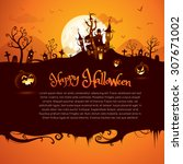 halloween castle with wide copy ... | Shutterstock .eps vector #307671002
