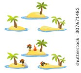 desert island with palms and... | Shutterstock .eps vector #307671482