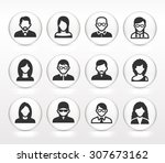 people face set on white round... | Shutterstock .eps vector #307673162
