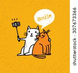 Stock vector two cats making photo using selfie stick funny animal illustration on distressed background 307673366