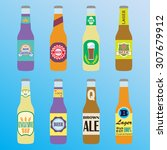 beer bottles icon set with... | Shutterstock . vector #307679912