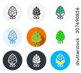 set of beer hop icons in... | Shutterstock .eps vector #307690856