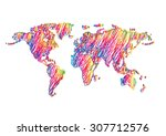 rainbow scribble drawing world... | Shutterstock .eps vector #307712576