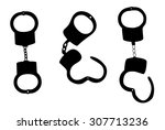 handcuffs silhouettes vector...