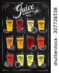 poster menu with glasses of... | Shutterstock .eps vector #307738538