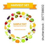 set of fruits and vegetables in ... | Shutterstock .eps vector #307738832