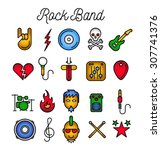 rock band icon set. vector... | Shutterstock .eps vector #307741376