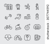 exercise and health line icon | Shutterstock .eps vector #307744592